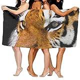 KTMB Animal Tiger Cat Predation Danger Tiger Head Washable Extra Large Bath Beach Towel Soft Personality Towel