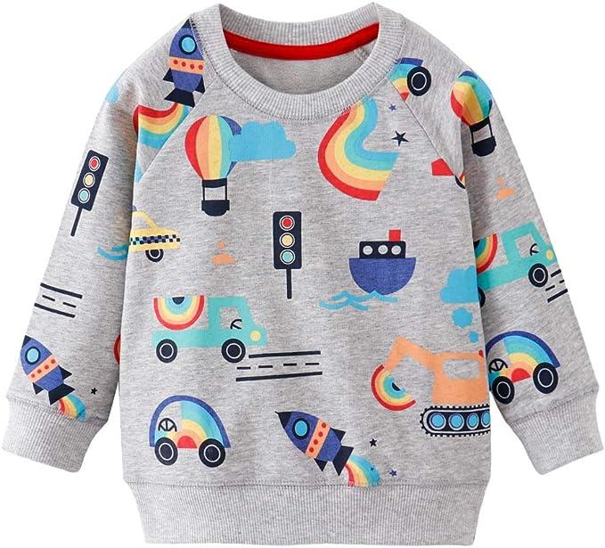 Akyzic Boy Dinosaur Sweatshirts Toddler Long Sleeve Cotton Pullover Cartoon T-Shirts Sport Top Tee for Kids 2-7T