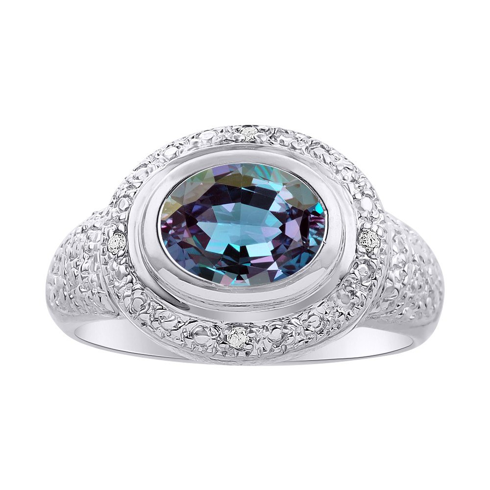Diamond Halo Color Stone Birthstone Ring Diamond /& Simulated Alexandrite Ring Set In Sterling Silver