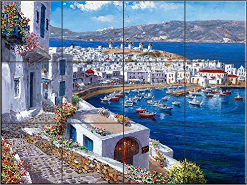 Ceramic Tile Mural - Mykonos Harbor - SP- by Sam Park/Soho Editions