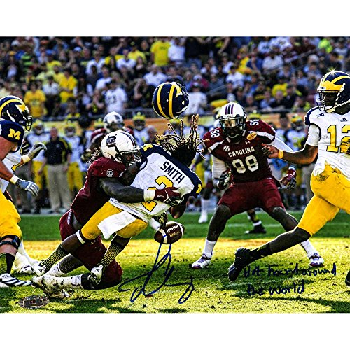NCAA South Carolina Fighting Gamecocks Jadeveon Clowney vs. Michigan Signed 8x10 Photo with the Hit Heard Round the World by Steiner Sports