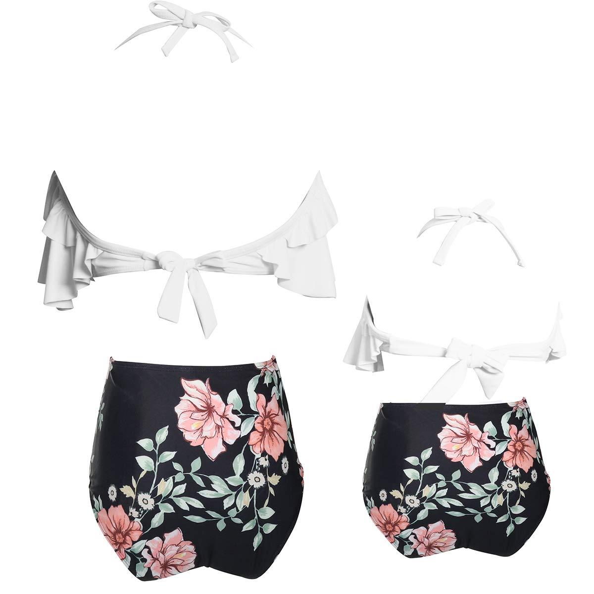 2 Piezas Bikini Conjuntos de Cintura Alta con Volantes de la impresi/ón de la Flor Trajes de ba/ño Ropa de la Familia Madre Trajes de la Hija