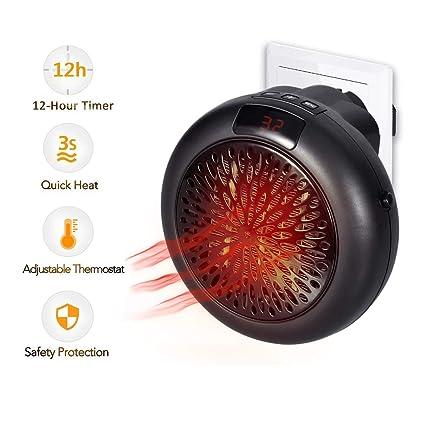Calentador Instantáneo 1000W Termostato Cerámico Mini Calefacción Calefactor Eléctrico con Temporizador Calefactor de Ventilador para Enchufe