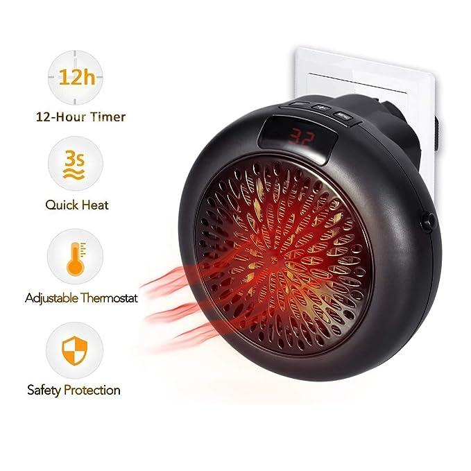 Calentador Instantáneo 1000W Termostato Cerámico Mini Calefacción Calefactor Eléctrico con Temporizador Calefactor de Ventilador para Enchufe de Potencia: ...