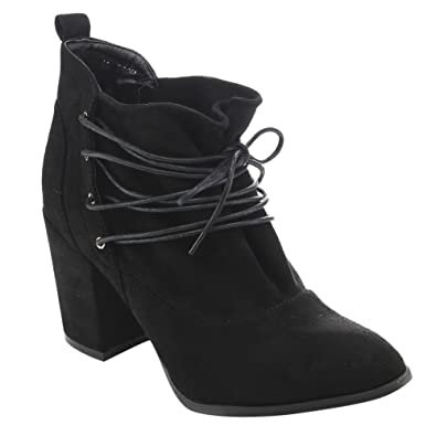 ED51 Women's Lace Up Wrapped Block Heel Ankle Booties