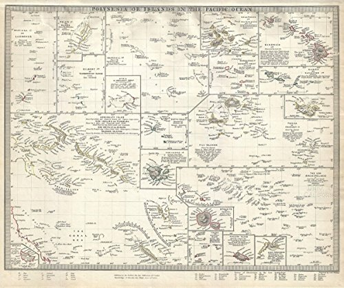 Historical 1840 S.D.U.K. Map of Polynesia or The Islands in The Pacific Ocean |16 x 20 Fine Art Print | Antique Vintage Map -