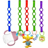 Baby Pacifier Clips,5 Pack Stretchable Silicone Toy Safety Straps,Baby Toddler Bottles Harness Straps for Strollers…