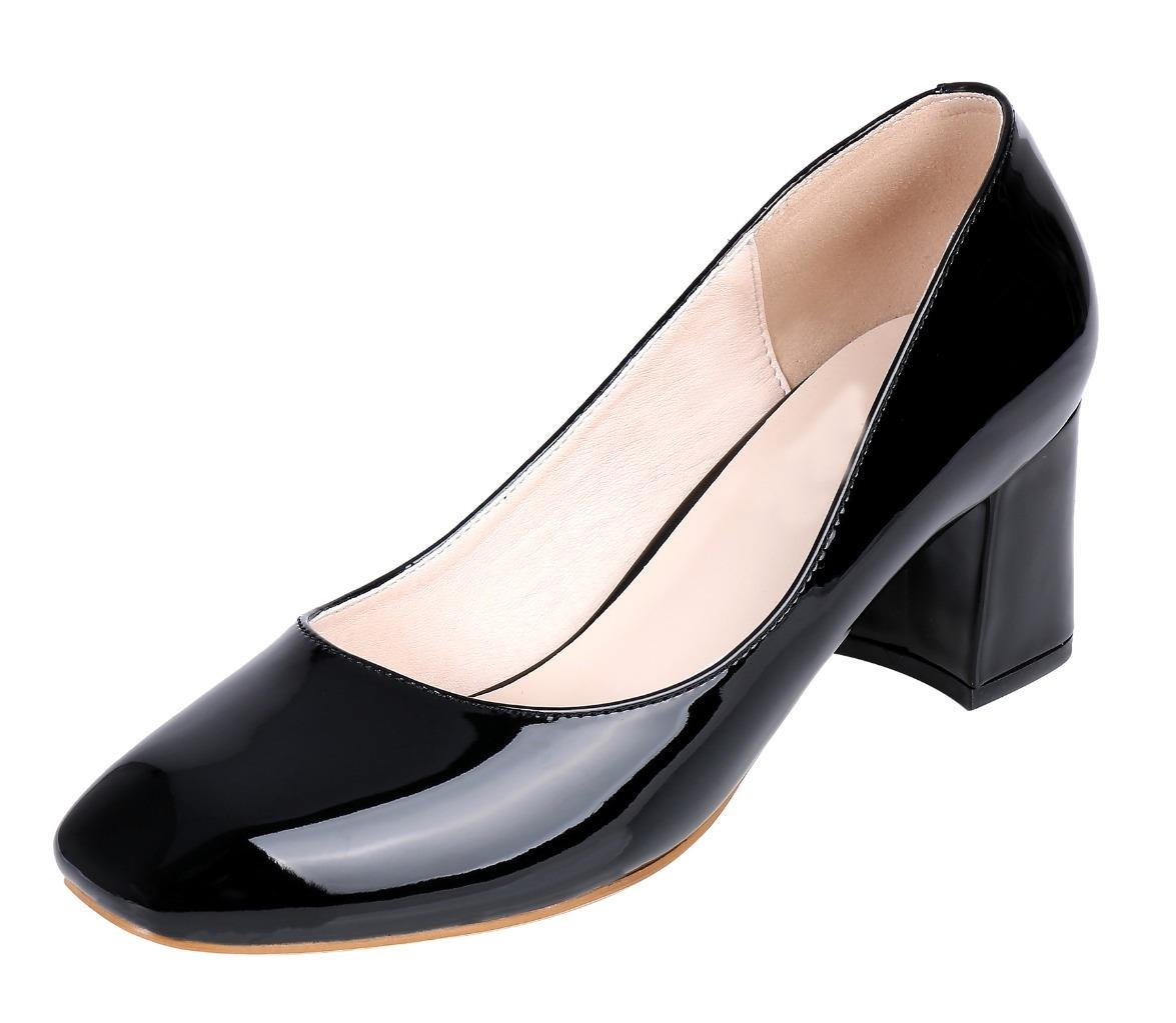 Jiu du Women's Comfort Square Toe Pauline Chunky Wrapped High Heel Dress Pumps Shoes Black Patent PU Size US8.5 EU41 by Jiu du (Image #1)