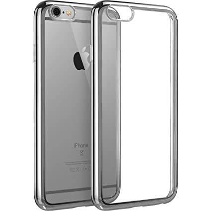 timeless design aed61 4f1ac iPhone 6s Case, iPhone 6 Case, ESR Soft TPU Silicone Case Protective Back  Cover with Electroplate Frame for 4.7 inches iPhone 6 and iPhone 6s (Space  ...