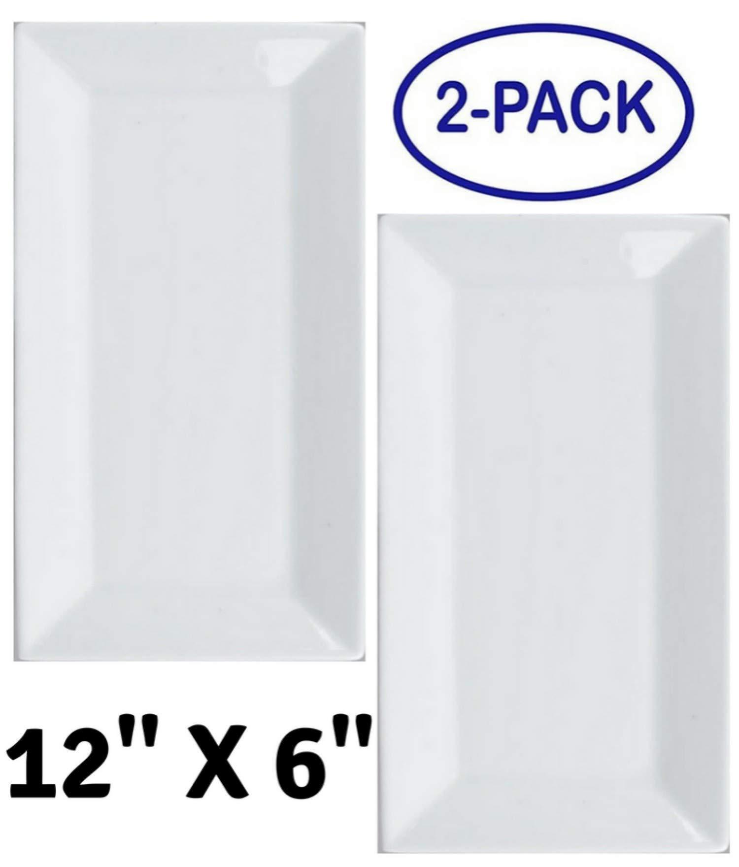 White 12'' x 6'' Rectangular Porcelain Platter - Party Food Server Display Plate - Cake Dessert Fruit Presentation Tray