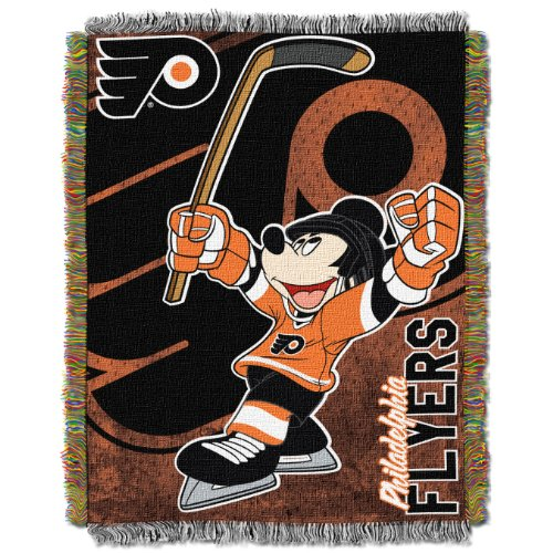 The Northwest Company Officially Licensed NHL Philadelphia Flyers Co Disney's Mickey Woven Tapestry Throw Blanket, 48
