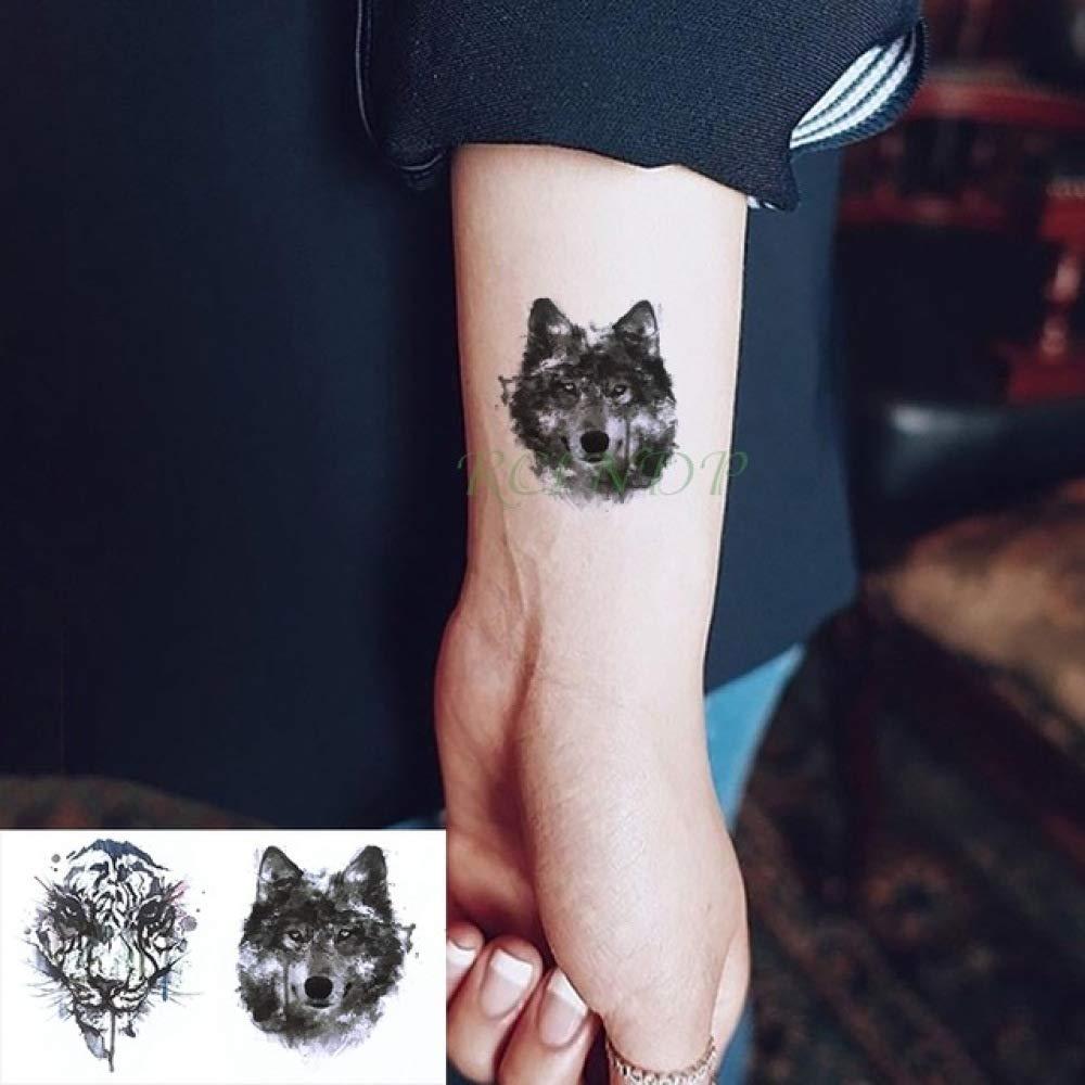 ljmljm 6pcs Impermeable Etiqueta engomada del Tatuaje del Lobo del ...
