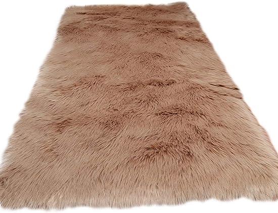 Elhouse Soft Faux Fur Sheepskin Home Decor Square Area Rug Shaggy Carpet Fluffy Floor Rugs for Baby Bedroom, 6ft x 6ft, Khaki
