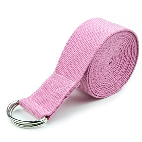 8-Foot Cotton Yoga Strap with Metal D-Ring by Crown Sporting Goods (Pink)