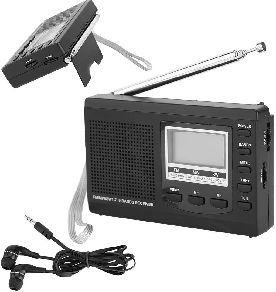 Sutinna Mini Radio Digital portátil con Auriculares, Soporte de Radio estéreo de Bolsillo FM/MW/SW con Reloj Despertador Digital Receptor de Radio FM para el hogar ...