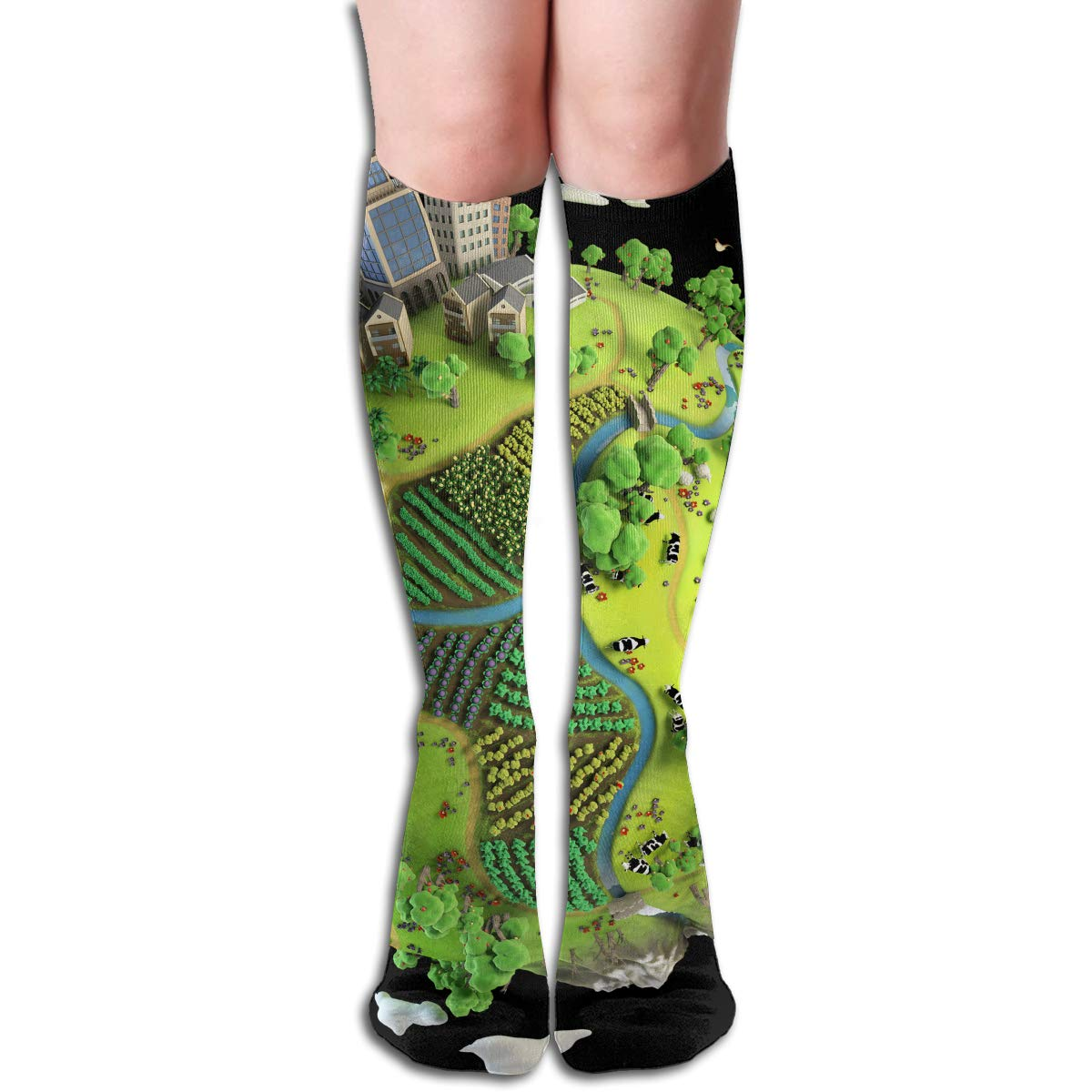 19.68 Inch Compression Socks Earth Planet High Boots ...