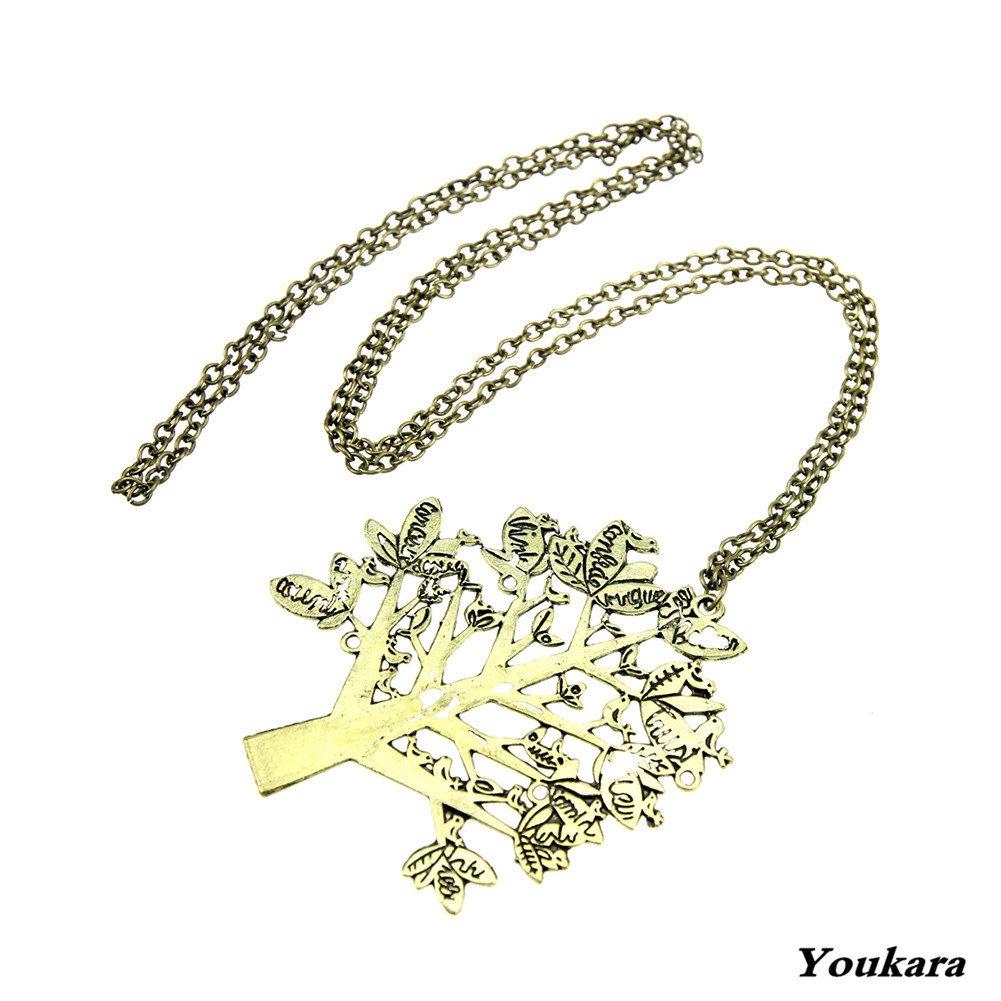 Youkara collana per donne e ragazze Christmas Tree alphabet collana