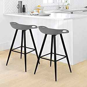 Set of 2 Bar Stools, 32.3-inch Modern Minimalist Style High Counter Barstool Portable Pub Chair with Low Backrest & Footrest & Metal Legs & PP Seat for Kitchen Island Balcony, Grey & Black