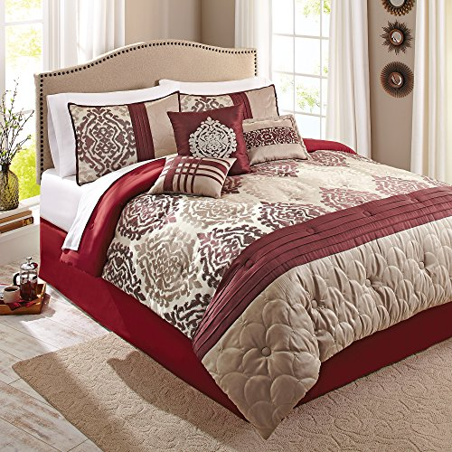 Fashionable, Soft, Decorative Better Homes and Gardens 7-Piece Bedding Comforter Set, Red Ikat, King from Better Homes & Gardens