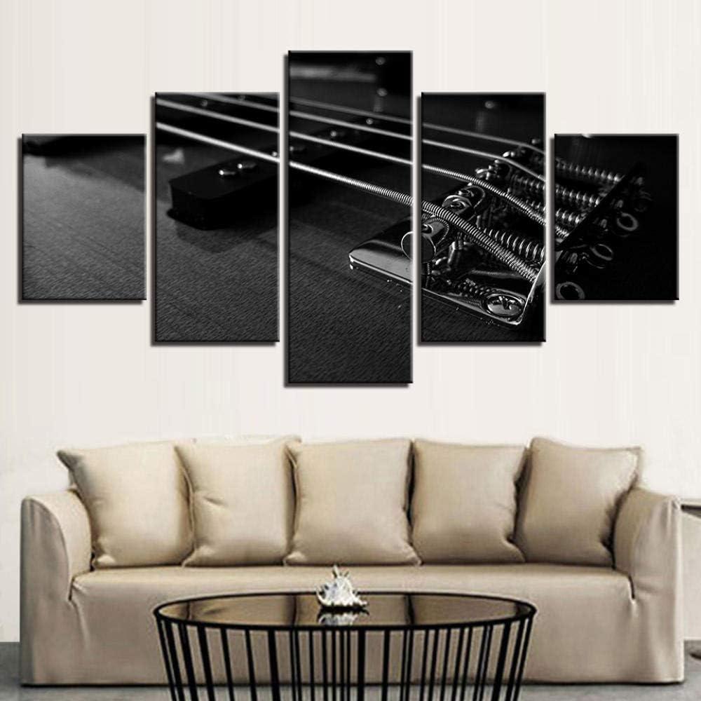 N / A 5 Paneles De Decoración Cuerda De Guitarra Home Impresión De Material Tejido Impresión Artística Gráfica Decoracion De Pared.20X35Cm*2/25X45Cm*2/20X55Cm*1(Tener Marco)