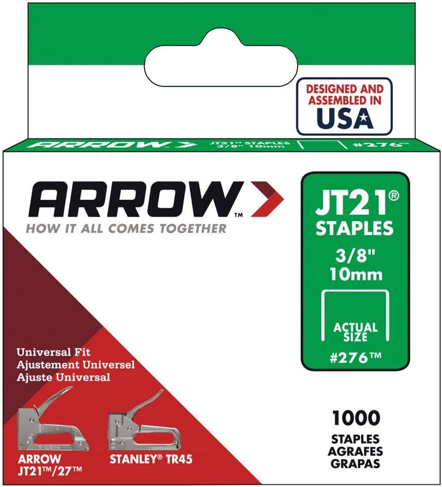 1,000-Pack Arrow Fastener 276 Genuine JT21//T27 3//8-Inch Staples