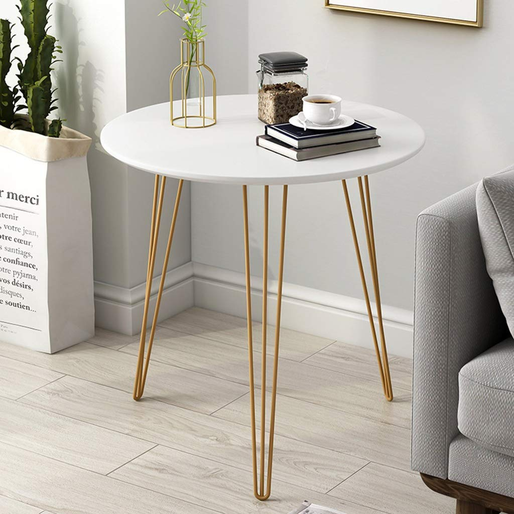 ZDNALS 23.6 Inch Bedside Table Metal Modern Round Sofa Side Table Creative Furniture Coffee and Table, for Bedroom, Office, Living Room Bedside Table (Color : White)