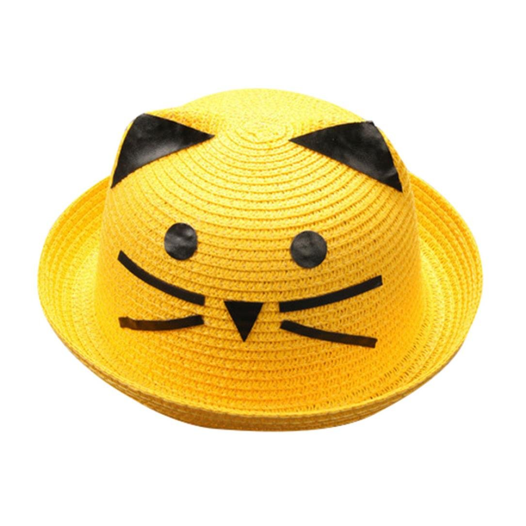 849abb0b58a2 Iuhan Straw Fedora Hats Summer Breathable Hat Straw Hat S Cartoon Cat Face  Hats Caps AS The Picture Shows Yellow: Amazon.in: Clothing & Accessories