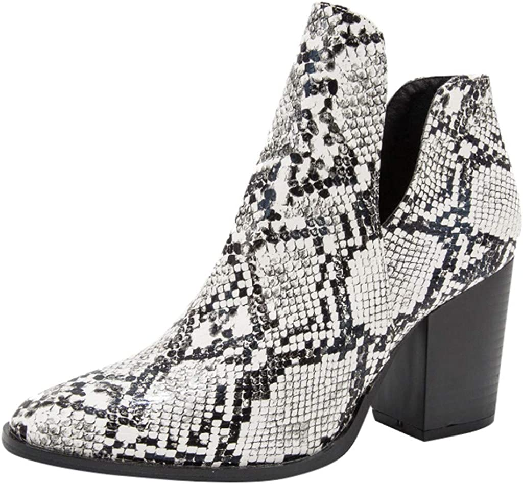 Womens Snakeskin Pattern Boots Block Mid Heel Ankle Booties Point Toe Shoes Size