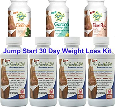 The Swedish Diet 30 Day JUMPSTART WEIGHT LOSS KIT, 34 ounces: 4 Bottles of The Swedish Diet MEAL REPLACEMENT, and 1 each COLON CLEANSER, FIBER and GARCINIA for SAFE & EFFECTIVE WEIGHT LOSS