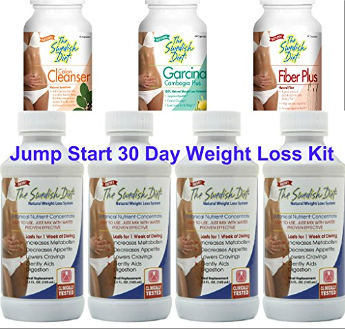 The Swedish Diet 30 Day JUMPSTART WEIGHT LOSS KIT, 34 ounces: 4 Bottles of The Swedish Diet MEAL REPLACEMENT, and 1 each COLON CLEANSER, FIBER and GARCINIA for SAFE & EFFECTIVE WEIGHT LOSS by The Swedish Diet