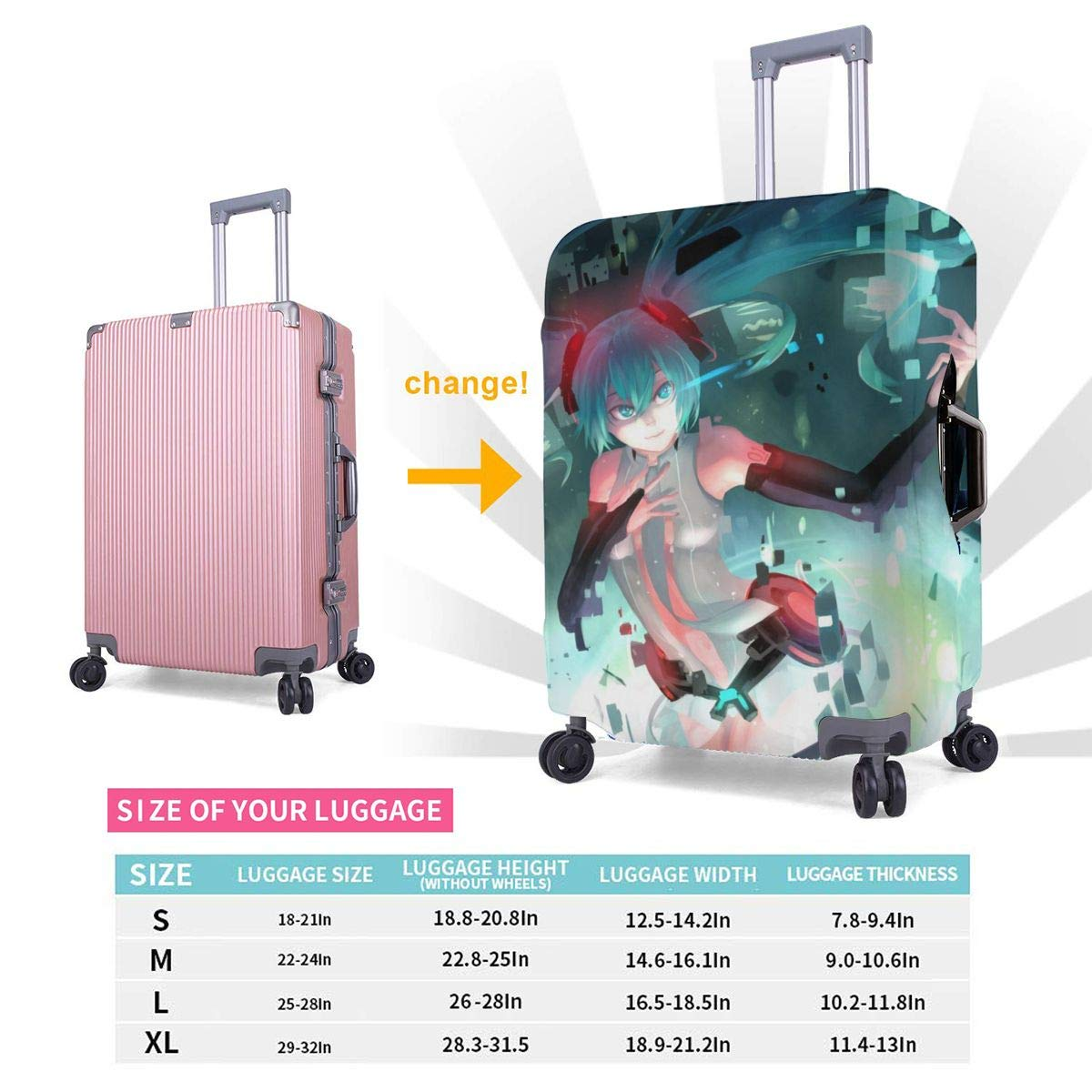 Travel Luggage Cover Vocaloid Hatsune Miku Heart Girl Travel Luggage Cover Suitcase Protector Fits 26-28 Inch Washable Baggage Covers