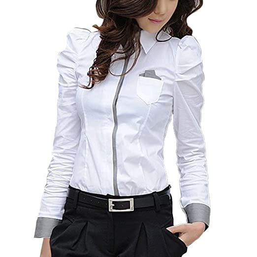 393e44bb ELINKMALL Women Office Lady Formal Button Down Shirt Puff Sleeve ...