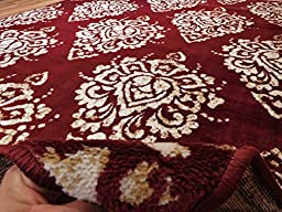 Luxury Large 8\'x11\' Contemporary Rugs Red & Ivory Cream Modern Rugs 8x10 Cheap Rug Sets Prime Flower Leaf Pattern Carpet, Large 8x11