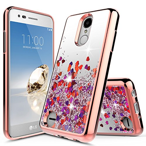 LG Tribute Dynasty Case (SP200), LG Aristo 2 Case (X210 / X210MA), LG K8 2018 Case, NageBee Quicksand Liquid Floating Glitter Flowing Sparkle Bling Luxury Clear Soft Case -Rose Gold