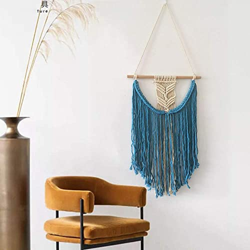 Shukii Macrame Wall Hanging Woven Wall Art Macrame Tapestry Chic Home Decor For Apartment Bedroom Living Room Gallery Blue