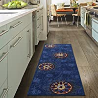 Ottomanson Studio Collection Medallion Design Runner Rug, 20 X 59, Blue