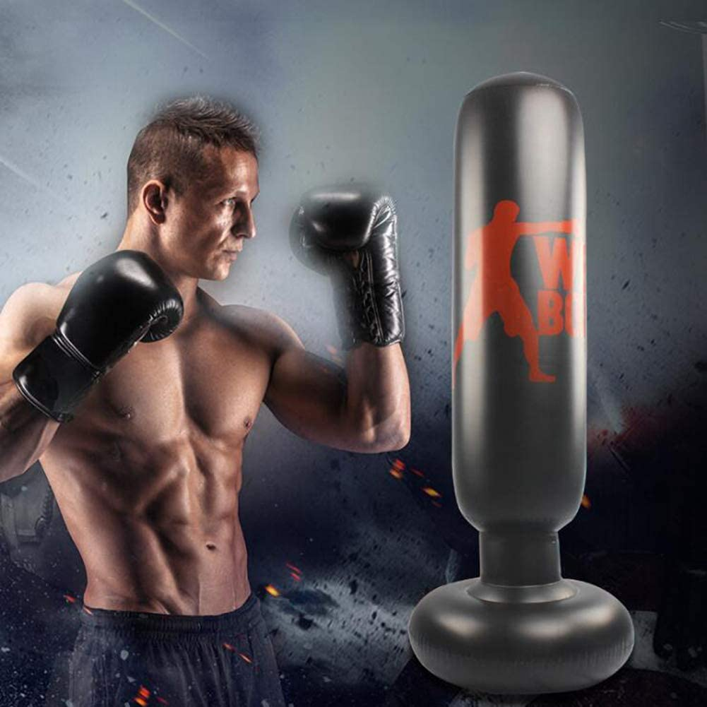 XIONGDA Saco de Boxeo Inflable para Ejercicios Fitness Patada de pie Columna de Vaso Saco de Arena Juego Deportivo Boxeo de desestresamiento Bolsa Objetivo con Bomba de Pedal inflador de Aire 160 cm