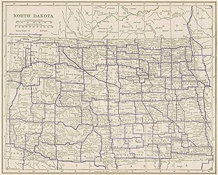 North Dakota State Highways. POATES - 1925 - old antique ...