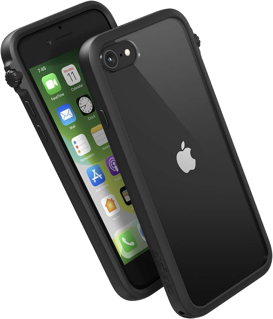 Impact Case for iPhone SE 2020, Compatible with iPhone 8/7, Wrist Strap Lanyard Included, Wireless Charging, Drop Protection, Rotating Mute Switch - Stealth Black