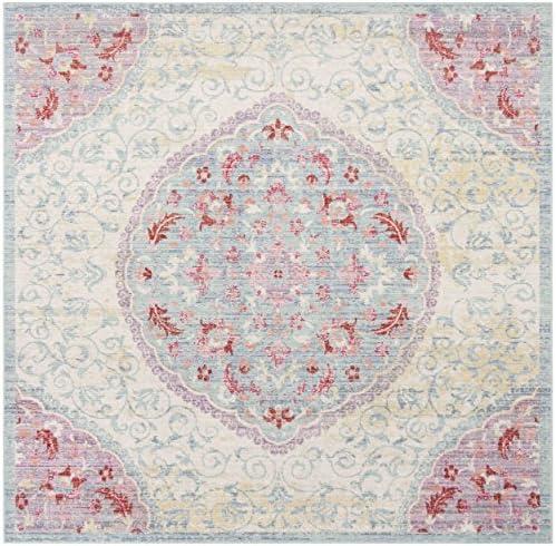 Safavieh Windsor Collection Premium Wool Square Area Rug, 6 , Light Grey Blue