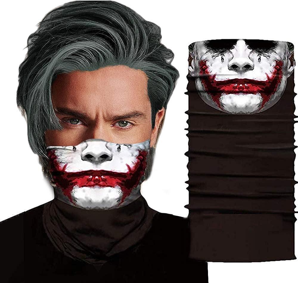 Skull Bandanas Joker Neck Gaiter Face Scarf 3D Print UV Face Shield