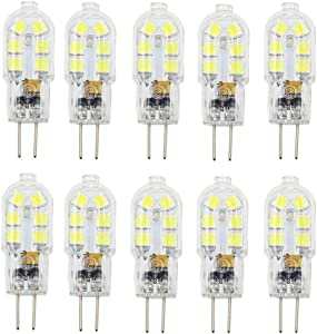 Dayker G4 LED Light Bulb 2W Jc Type Bi-pin Base 15W Halogen Replacement Daylight for Ceiling Lighting, Under Counter Lighting, Puck Lighting(10 Pack)