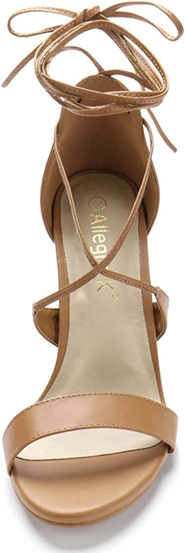 Allegra K Women Open Toe Chunky High Heel Ankle Tie Lace Up Sandals