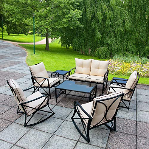 Friday discount Patio Outdoor Furniture Bistro Set 8 Pieces Black Steel Rocking Chairs with Glass Coffee Table Beige Cushions