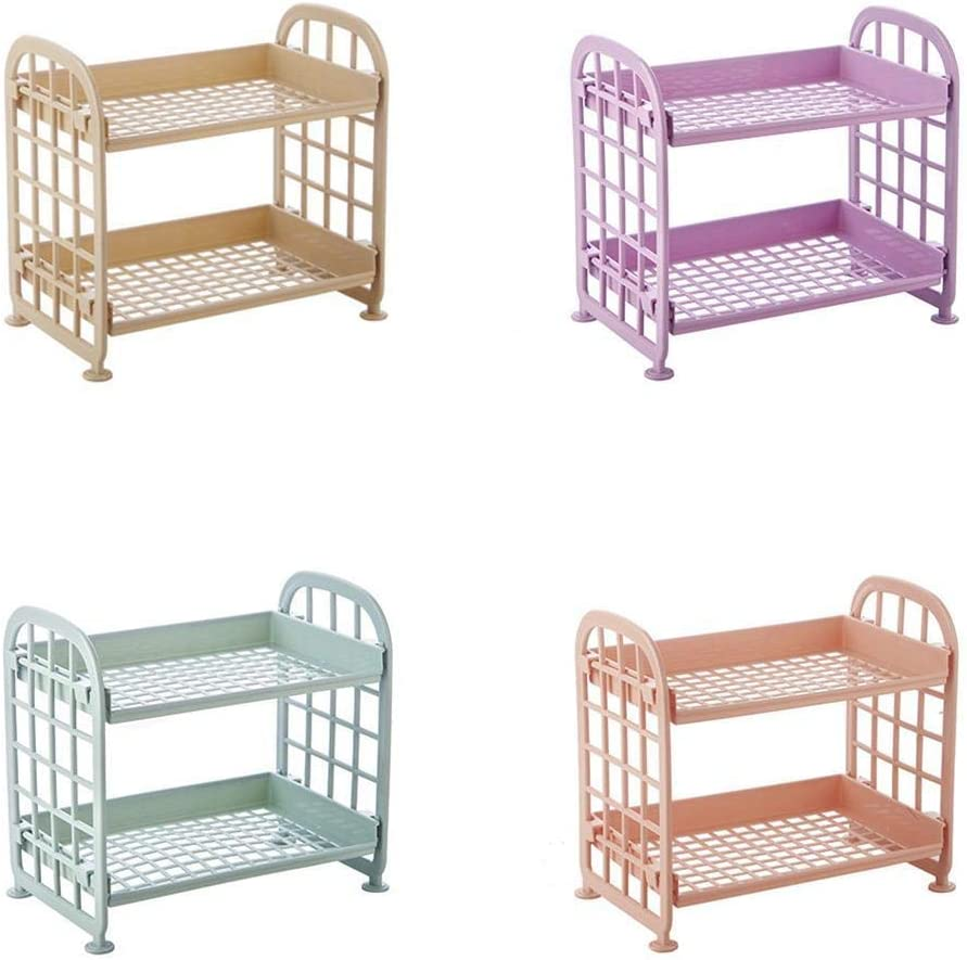 Justew Multi-Functional Double Layers Hollow Out Stand Rack Storage Shelves Tie Racks