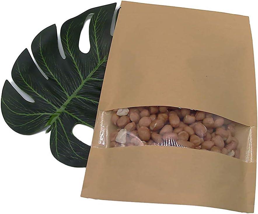 con cerniera 7.1X10.2 Sacchetti sigillabili per alimenti in carta kraft marrone con finestra confezione da 50 18x26cm richiudibili 100pcs Brown