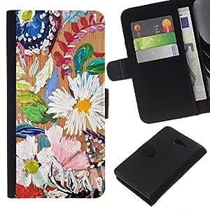 Stuss Case / Funda Carcasa PU de Cuero - Daisy Hojas Primavera Naturaleza Pintura - Sony Xperia M2