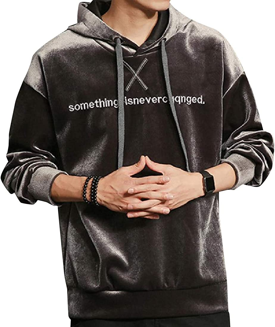 AngelSpace Men Loose Casual Pleuche Loose-Fit Drawstring Sleeve Long Jersey Pullover