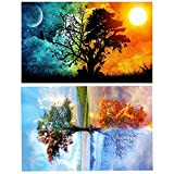 2pack 5D DIY Diamond Painting, Four Seasons Tree & Star Sky Rhinestone Gems Embroidery Arts Craft Paint-by-Number Kits Cross Stitch for Home Wall Decoration