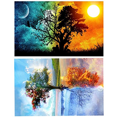 2pack 5D DIY Diamond Painting, Four Seasons Tree & Star Sky Rhinestone Gems Embroidery Arts Craft Paint-by-Number Kits Cross Stitch for Home Wall Decoration by AbeyongD